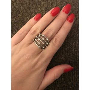 Silver Ring with Rhinestones
